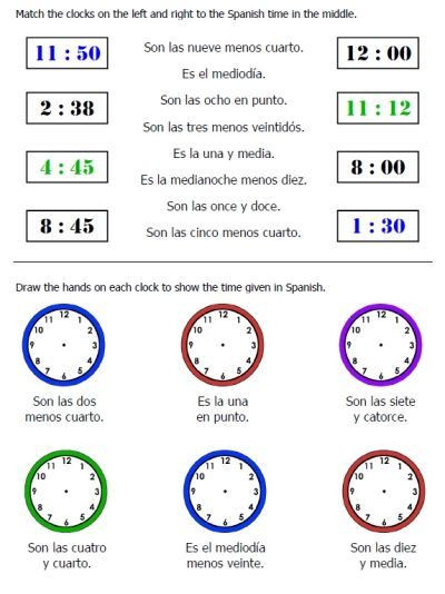 Spanish Time Worksheet with Answers