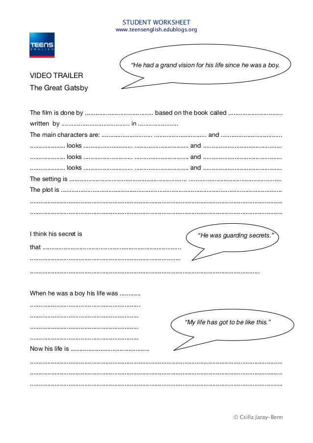 The Great Gatsby worksheet