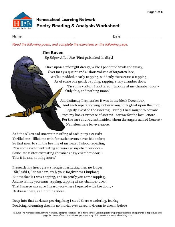 Poetry Reading and Analysis Worksheet The Raven Worksheet