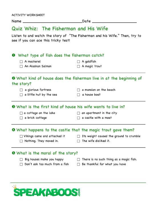 Quiz Whiz The Fisherman and His Wife