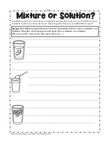 Mixture or Solution Worksheets