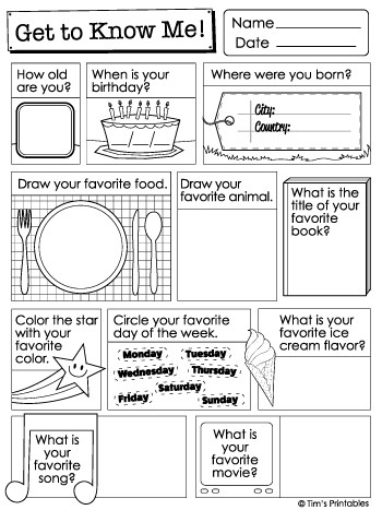 All About Me Pdf Worksheet