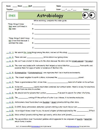 StarMaterials Free Bill Nye Video Worksheets and Free