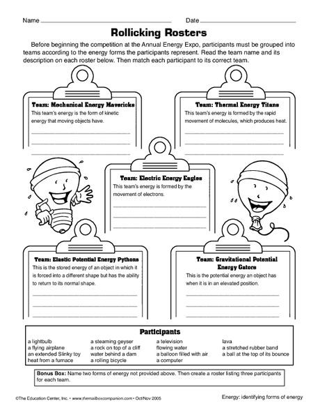 Science Worksheet forms of energy The Mailbox