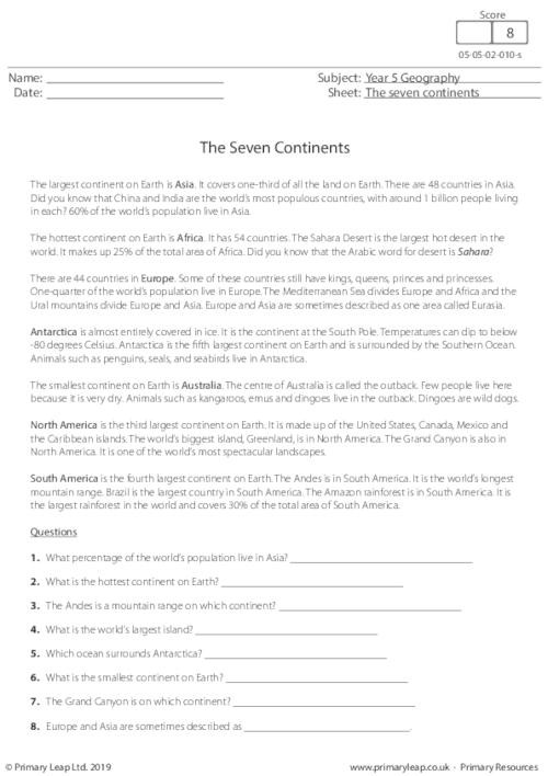 Geography Worksheets for Grade 7