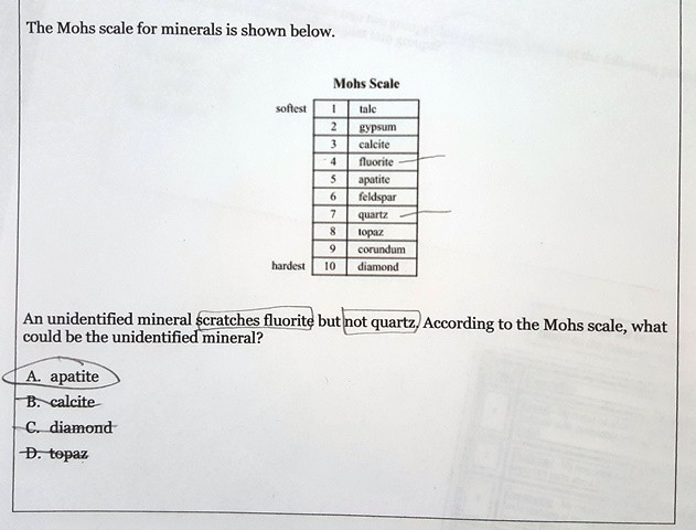 Mohs Hardness Scale Worksheet Answers