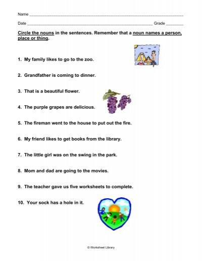 Person Place or Thing Worksheet